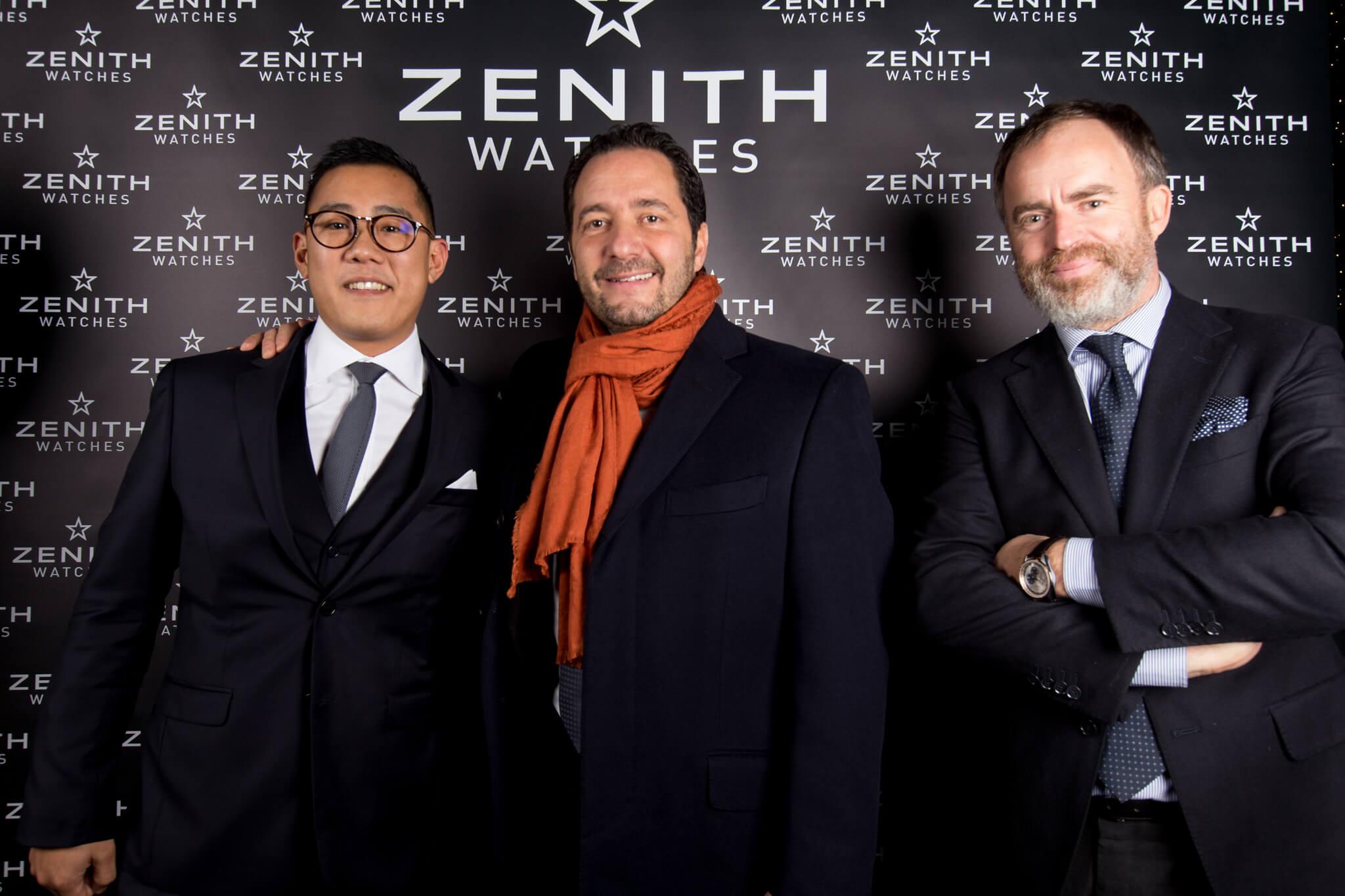 Zenith Vendôme Henri Trinh Directeur boutique Vendôme, Julien Tornare CEO Zenith et Arnaud Vidal DG Zenith France et Belux