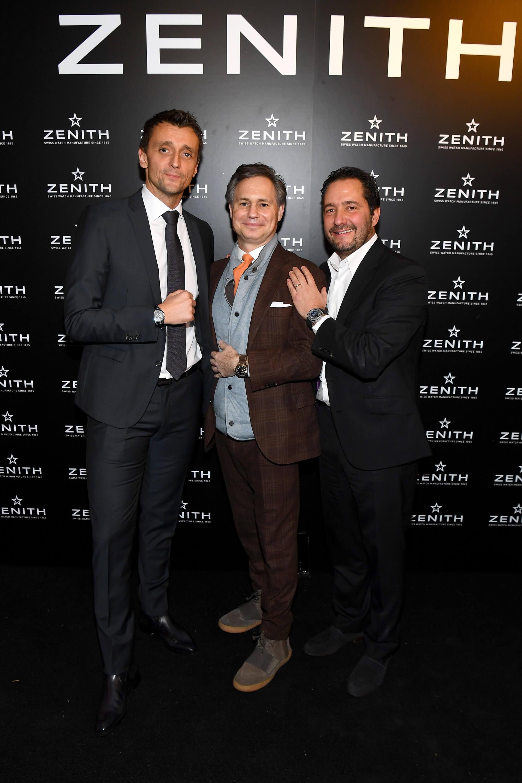 ZENITH - Benoit Vuillet, Brand Director North America, Jason Binn, CEO _ Founder DuJour Media and Julien Tornare - Getty Images