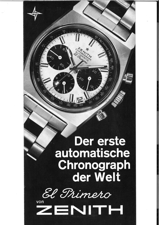 ZENITH HERITAGE 1969 DE Brochure Le1erchronographeautomatiquedumonde couv